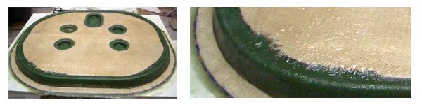 Stratification mat de verre et feutre avec résine polyester